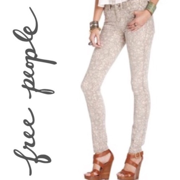 Free People Denim - Free People Millennium gray floral print size 29